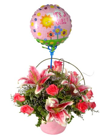 Pink Flowers for a Baby Girl and a Balloon