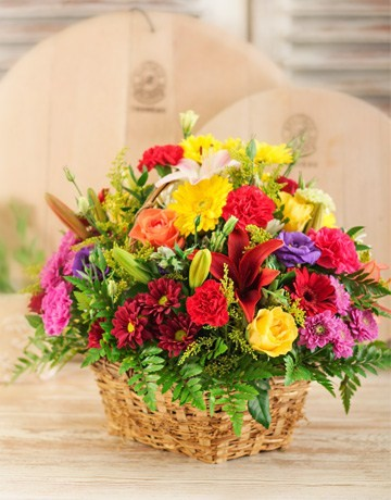 Mixed Country Flower Basket for Mothers Day
