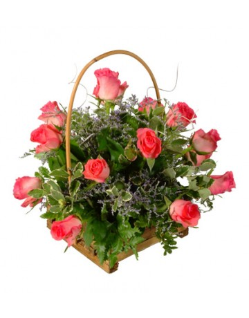 Basket of Pink Roses
