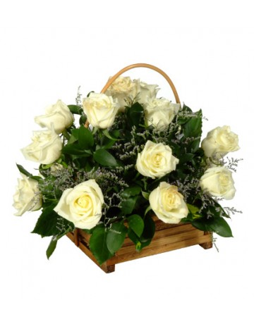 Basket of White Roses