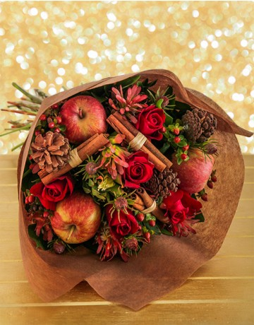 Festive Bouquet of Red Roses & Christmas Decorations