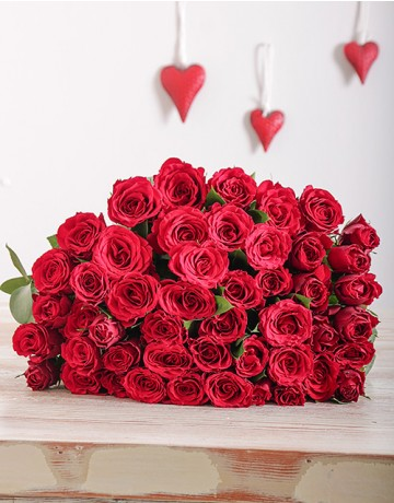 Red Roses in Cellophane for Mothers Day