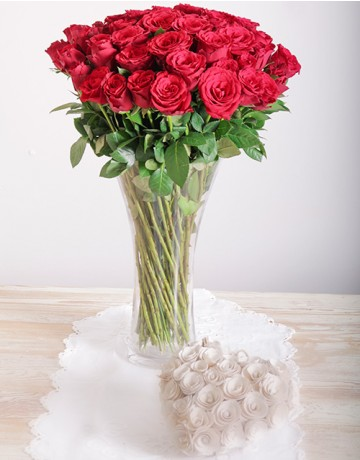 Red Roses in a Vase for Valentine's Day