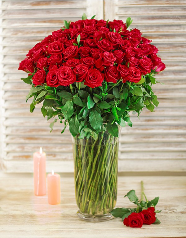 Home Occasions Valentines Day Red Roses in a Glass Vase