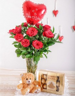 Red Roses in a Vase, Teddy, Chocolates & Balloon in Durban
