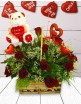 Red Roses, Teddy & Chocolate Hearts in a Basket