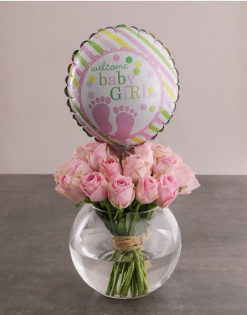 Baby girl flowers & Balloon Vase