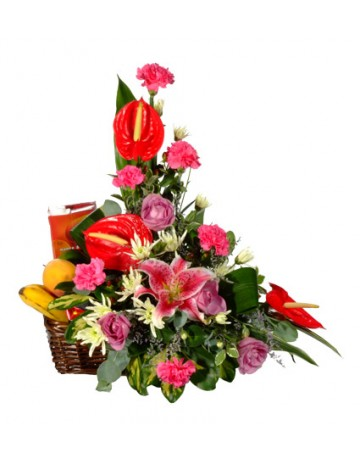 Traditional Upright Flower Arrangement & Fruit Basket
