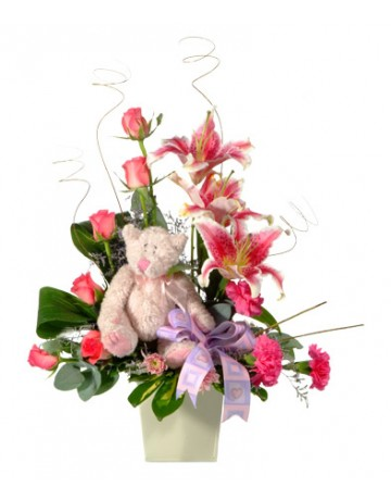 Pink Flower Arrangement with Teddy Bear