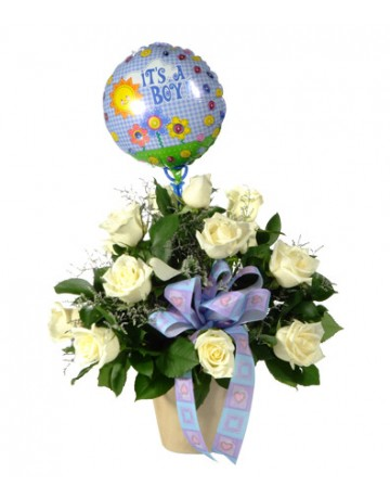 Flowers for a Baby Boy with a Balloon
