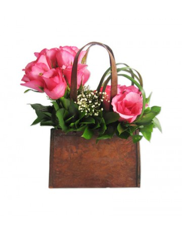 Pink Roses in a Metal Handbag