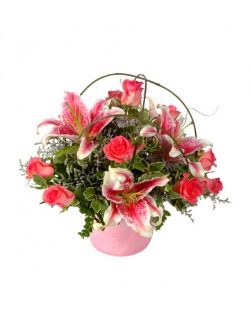 Posy of Mixed Pink Flowers