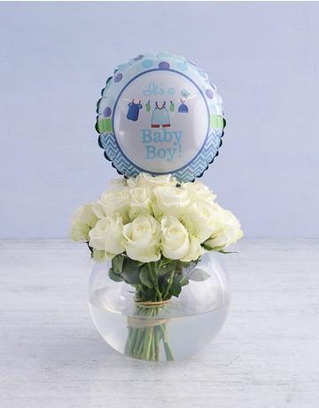 White rose & baby balloon Arrangement