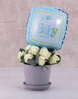 Baby Boy Flowers and Balloon