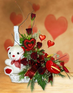 Red Roses with Teddy, Chocs & Sparkling Wine in Basket