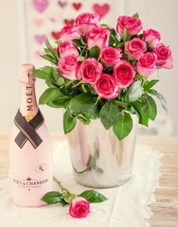 Moët Champagne & Pink Roses in Ice Bucket