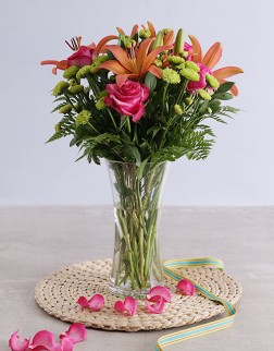 Lilies & Roses in a Vase