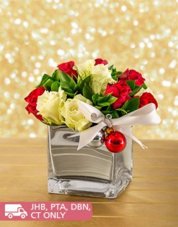 Red & White Rose Christmas Arrangement