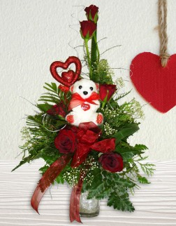 Red Roses & Teddy Arrangement in a Vase