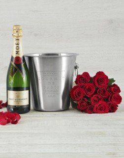Moët Champagne & Red Roses in Ice Bucket